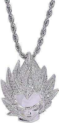 14k Blak Gold Finish Dragon Black Simulated Lab Diamond  Pendant Charm Chain Set