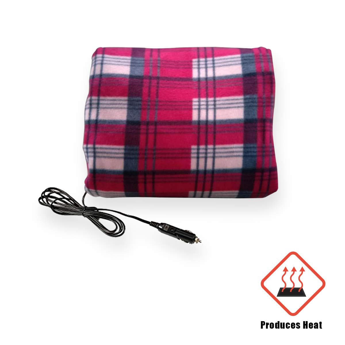 Navy Blue 7Buy 12V Fleece Car Travel Electric Heated Blanket for Medium and Small Cars