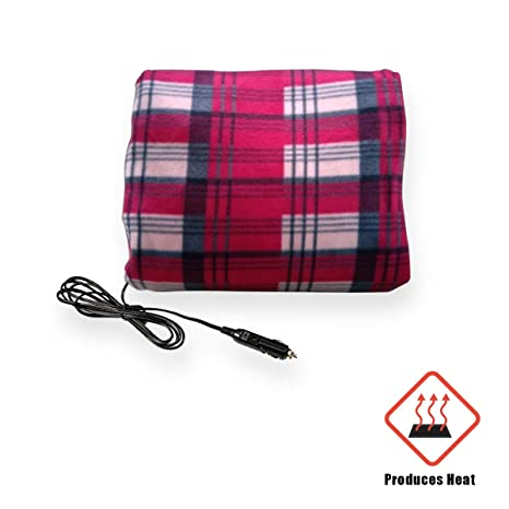 0a542d5cd9 VaygWay 12V Car Heated Blanket- Electric Fleece Travel Blanket Throw- Auto  Plaid Road Trip