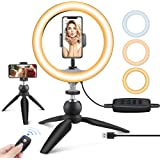 "UBeesize 10"" LED Ring Light with Tripod Stand & Phone Holder, Dimmable Desk Makeup Ring Light, Perfect for Live…"