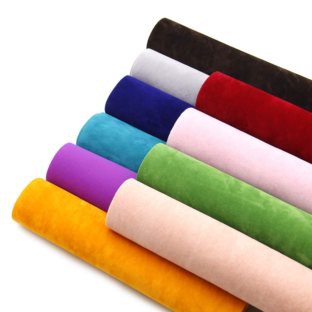 David accessories Double Sided Velvet Soft Fabric 10 Pcs 8'' x 13'' (20 cm x 34 cm) Assorted Colors for DIY Bags Wallet Glasses Cloth Craft Projects (Velvet Fabric)