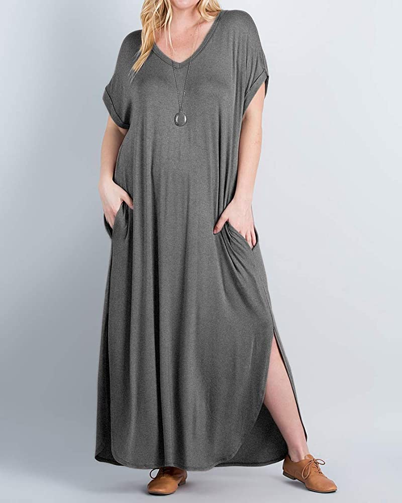 Womens Plus Size Maxi Dresses V Neck Casual Summer Short Sleeve Long Dress  Split Plain with Pockets