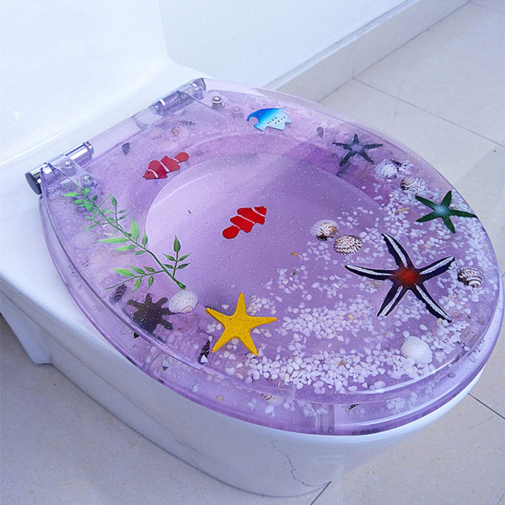 A OneSize LBRVICTRY Oceanica Collection Transparent Resin Toilet Seat With Soft Closure Stainless Steel Hinge Real Shell Starfish Inlay Universal U O V Type,F-OneSize
