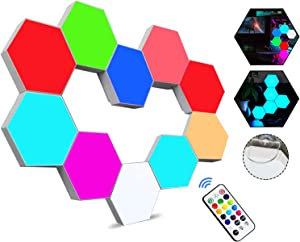 Hexagon Lights with Remote Control, Smart LED Wall Light Panels Touch-Sensitive RGB Gaming Night Lights Mood Lightning DIY Geometry Splicing Module for Gaming Setup/Home Bar Party Decor, 10 Pack