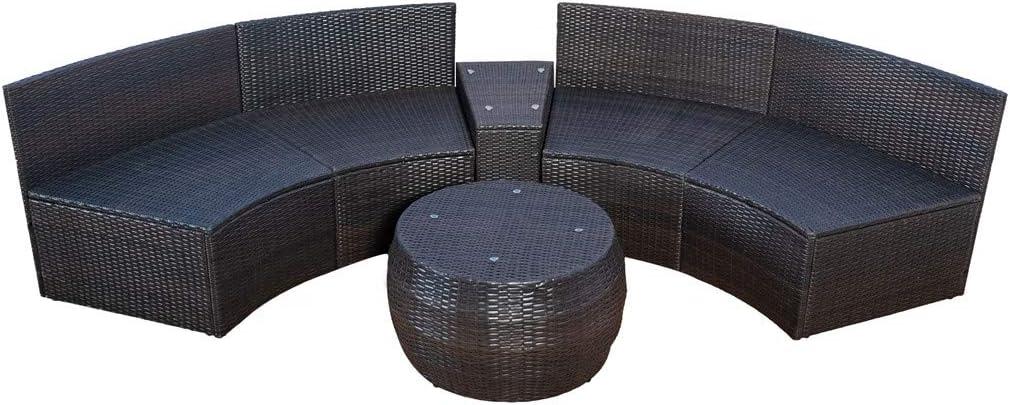 6 Pcs Garden Half Moon Sofa Table Rattan Outdoor Furniture Set Cushioned Weatherproof Patio Couch Desk