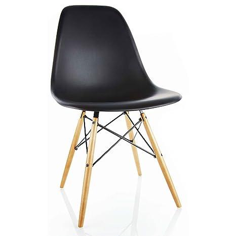 Vitra, 440023000201, Sedia in plastica con basamento in legno di ...