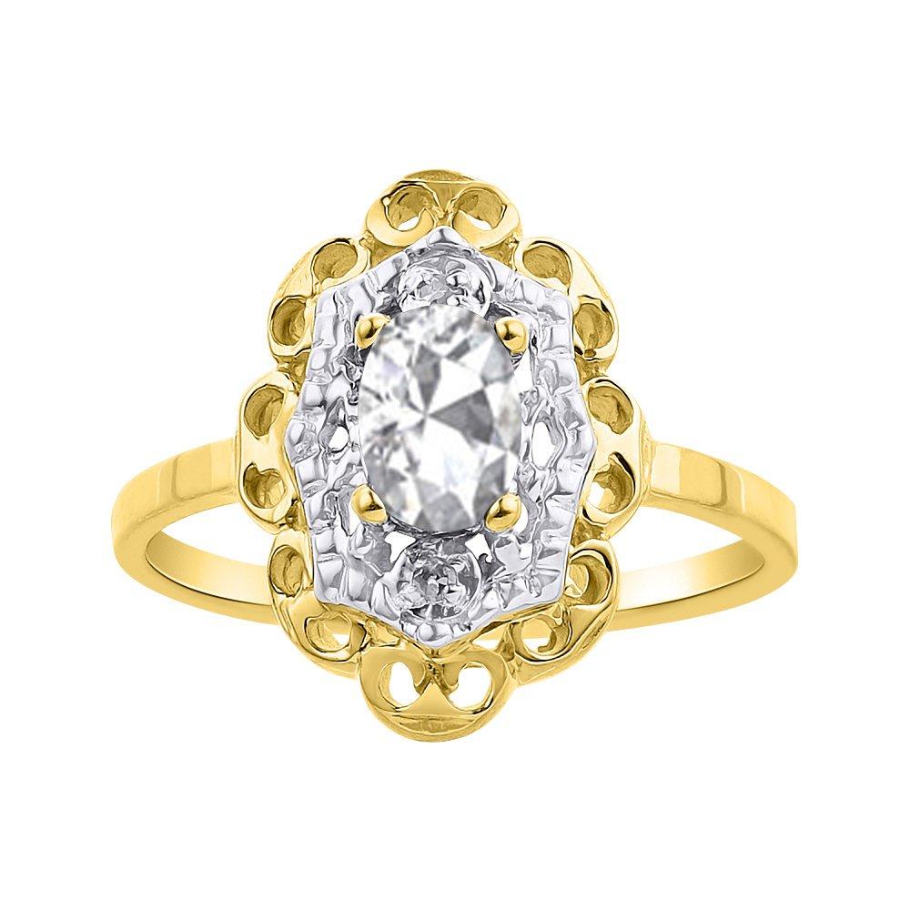 ダイヤモンド&ホワイトトパーズリングセット14 KイエローゴールドダイヤモンドHalo B07BP31VC8