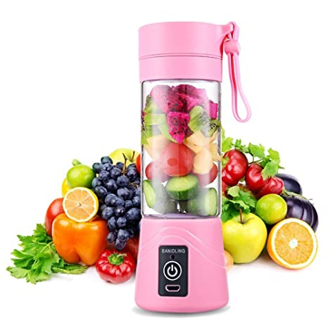 G-Anica® Smoothie Blender Portable, Personal Blender Mini Travel Juice Cup, Portable Smoothie Maker 400ml Fruit Mixing Machine with USB Charger Cable ...
