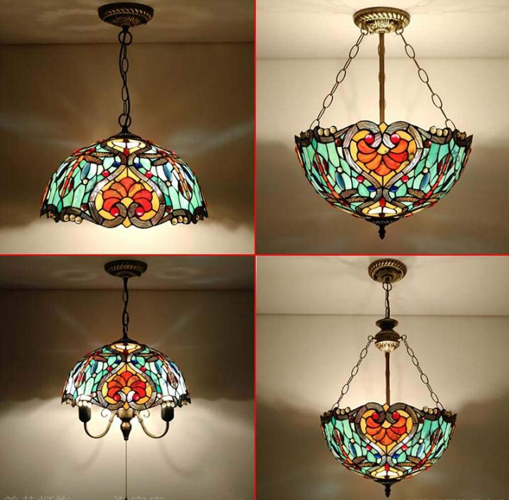 1 Light Tiffany Style Pendant Light Fixtures Ceiling Hanging Lamp Vintage Lighting Fixtures with 16 Inch Green Yellow Stained Glass Shade Antique Bronze Finish,C B
