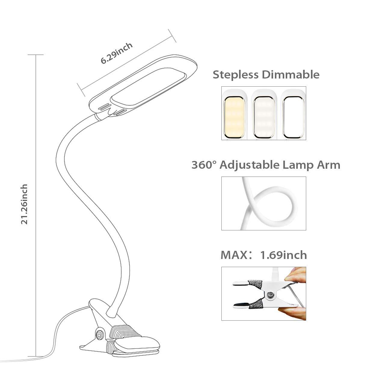 Lichtfarbe regulierbar von 3000K bis 6000K LVWIT SD-TA002 Memory Funktion LED Klemmleuchte Energieklasse A++ 5W Max Schwarz