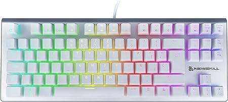Newskill Serike TKL Ivory Teclado Mecánico Gaming RGB Ultra Compacto con más de 11 Efectos de Iluminación RGB, Grabación de Macros y Tecnología ...