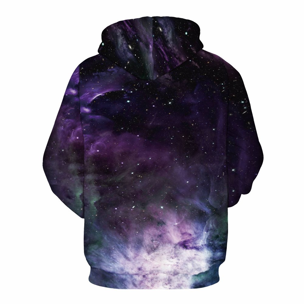 Youvimi Unisex 3d Printed Drawstring Pockets Pullover Sweatshirt Hoodie Hooded Sweatshirt (XXL/XXL, Starpurple)