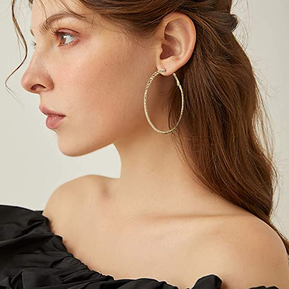 Bohemian Retro Gold Plt V Shape Fashion Hoop Earrings 37mm Hypoallergenic