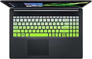 Silicone Keyboard Cover Skin for Acer Aspire 5 Slim Laptop 15.6 A515-43 A515-54 A515-54G, Acer Aspire 5 15.6 inch Accessories, Ultra Thin Keyboard Cover Skin Protector, Ombre Green