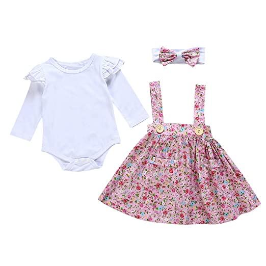 5ee63e91b73 Amazon.com  Littay Infant Baby Girls Solid Ruffle Romper Jumpsuit Floral Strap  Skirt Clothing Set  Clothing