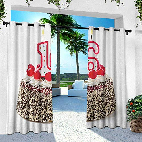Hengshu 16th Birthday, Indoor/Outdoor Single Panel Print Window Curtain,Delicious Cake with Burning Candlestick and Cherry Yummy Tasty Dessert Image, W84 x L84 Inch, Multicolor