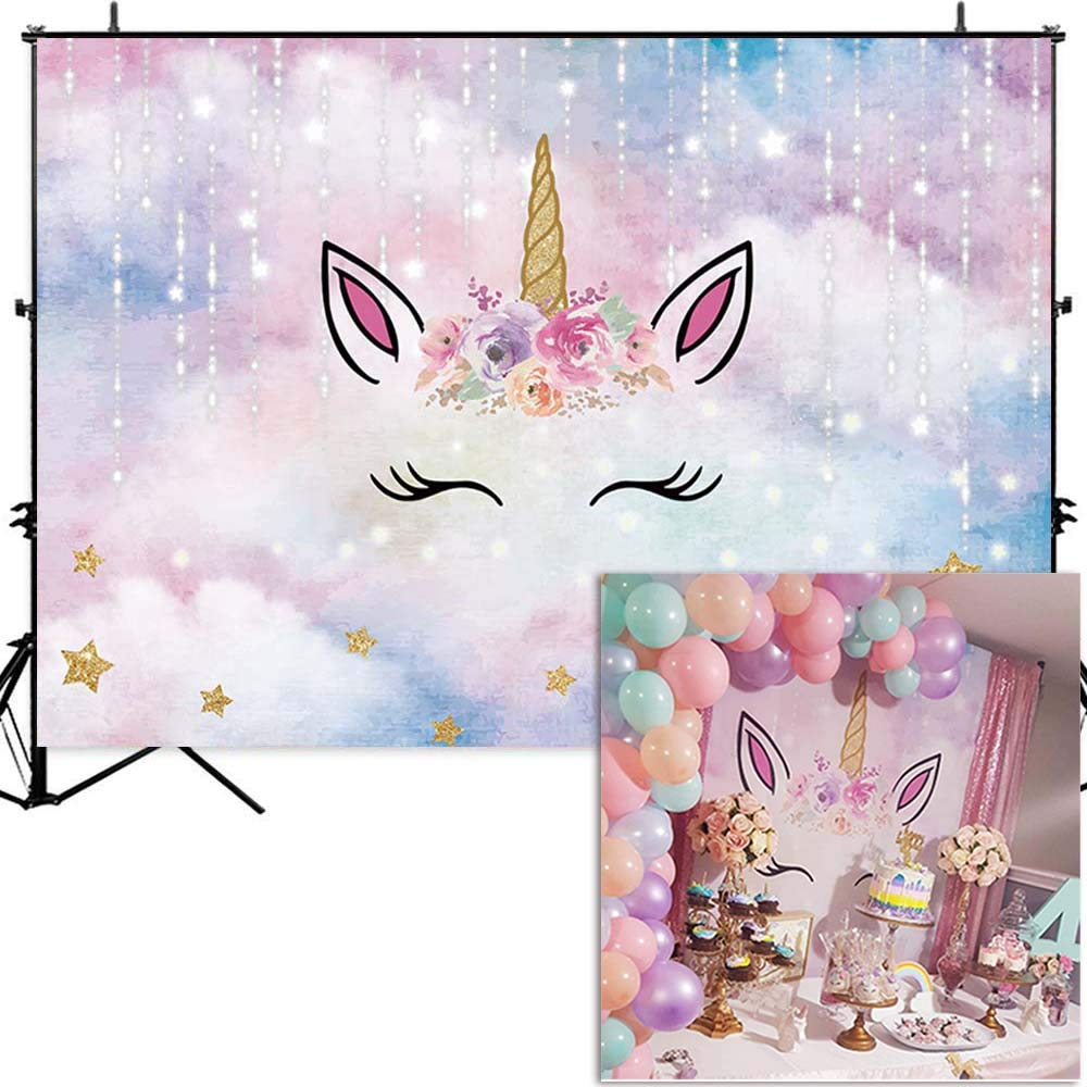 Allenjoy 7x5ft Unicorn Backdrop for Kids Birthday Pink Sky Silver Meteor Golden Stars Flowers Sparkling Horn Girls Party Decoration Background Photobooth Props Baby Shower Cake Table Banner