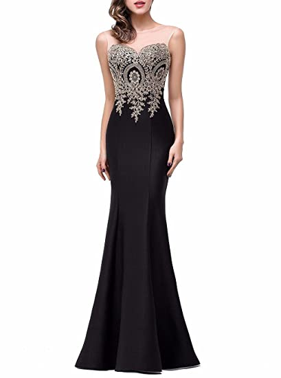 Fanciest Womens Formal Embroidery Prom Dresses Mermaid Long Evening Gowns Black US2