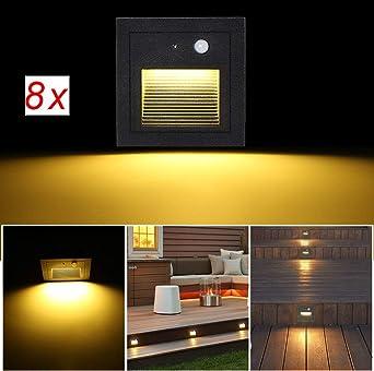 SUBOSI 8Foco Empotrable de Pared LED 3W Lámpara de Pared Lámpara de luz de Escalera Detector de Movimiento Piso Lámpara de Escalera Empotrada Lámpara de Salón 2800K blanco Cálido: Amazon.es: Iluminación