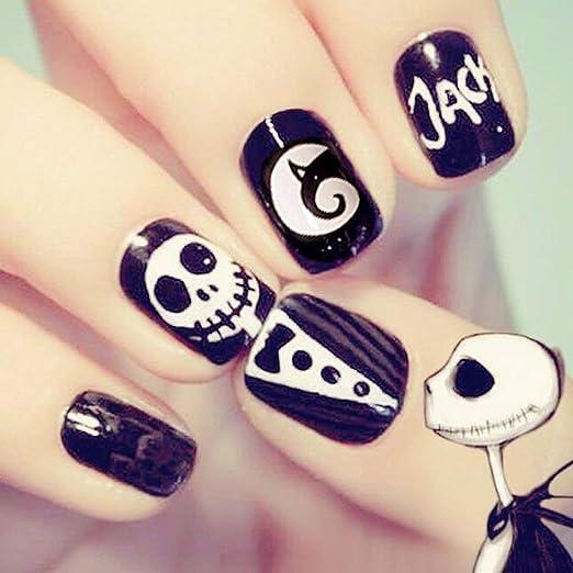 SAMILLEE - Juego de 24 uñas postizas para Halloween, diseño de ...