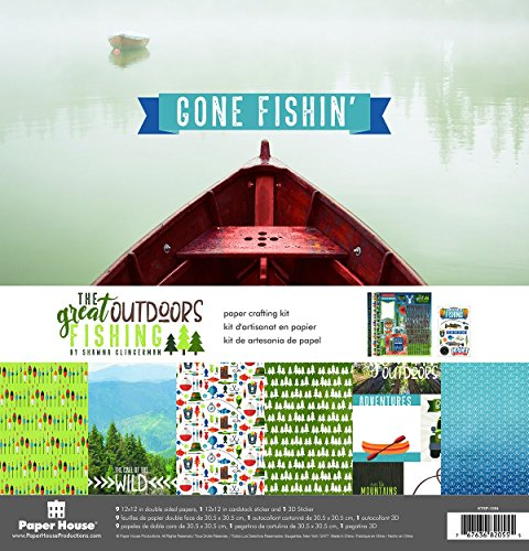 Great Outdoors Scrapbook Kit - Paper House Productions Great Outdoors Fishing Paper Crafting Kit, 1-Pack