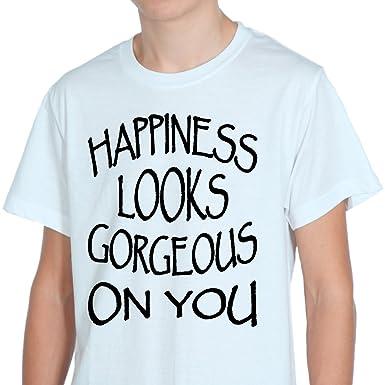 78745b267 Happiness looks gorgeous on YOU White Mens T-Shirt XXL: Amazon.co.uk:  Clothing
