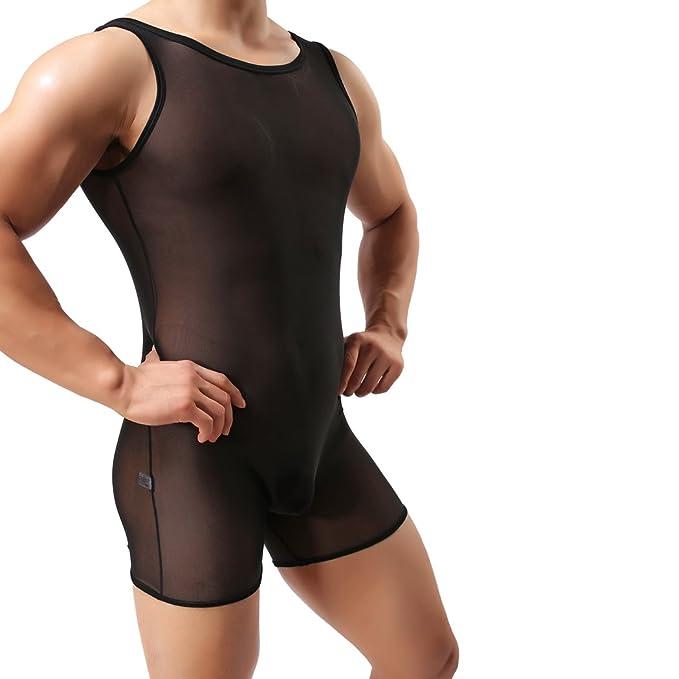 eaa2aa1da45d VENI MASEE Mens Sexy Mesh Bodysuit Slimming Body Shaper Shorts Fitness  Conjoined Underwear(M-XL)  Amazon.co.uk  Clothing
