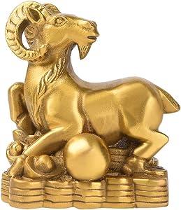 Brass Chinese Zodiac Ingots Goat/Sheep Statue Handmade Home Decor Collectibles