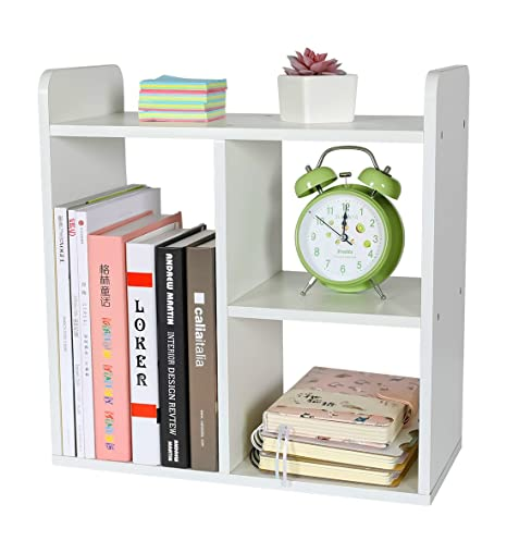 PAG Desktop Bookshelf Assemble Countertop Bookcase Office Supplies Wood Desk Organizer Accessories Display Rack White