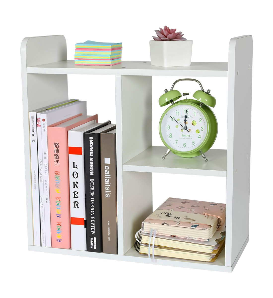 PAG Desktop Bookshelf Assemble Countertop Bookcase Office Supplies Wood Desk Organizer Accessories Display Rack, White