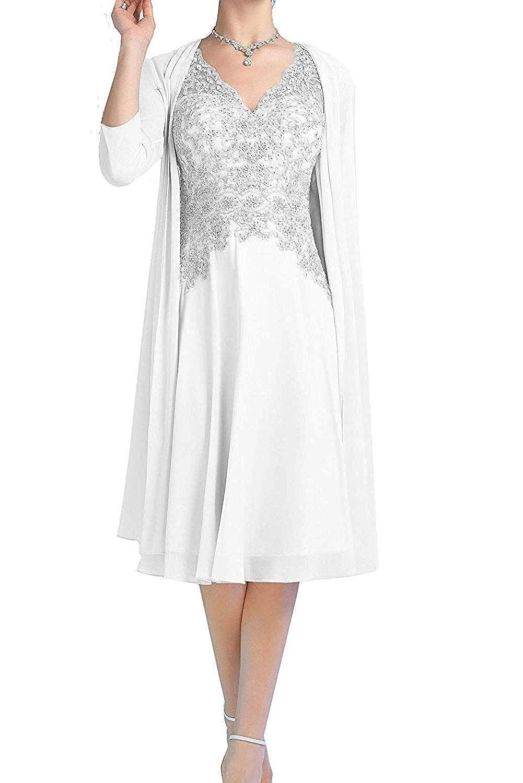 Light Ivory ZLQQ Pink Aline Short Dress V Neck with 3 4 Sleeves Jacket for Mother of The Bride