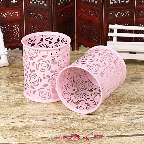 SPHTOEO Hollow Rose Flower Pattern Cylinder Pen Pencil Pot Holder Container Organizer (Pink) (Pattern Hollow Flower)