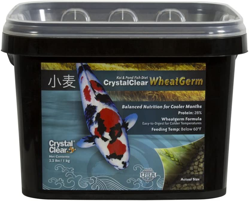 CrystalClear Koi & Pond Fish Food - Wheat Germ - 3.0mm Pellet Size - 2.2 Pound Bucket