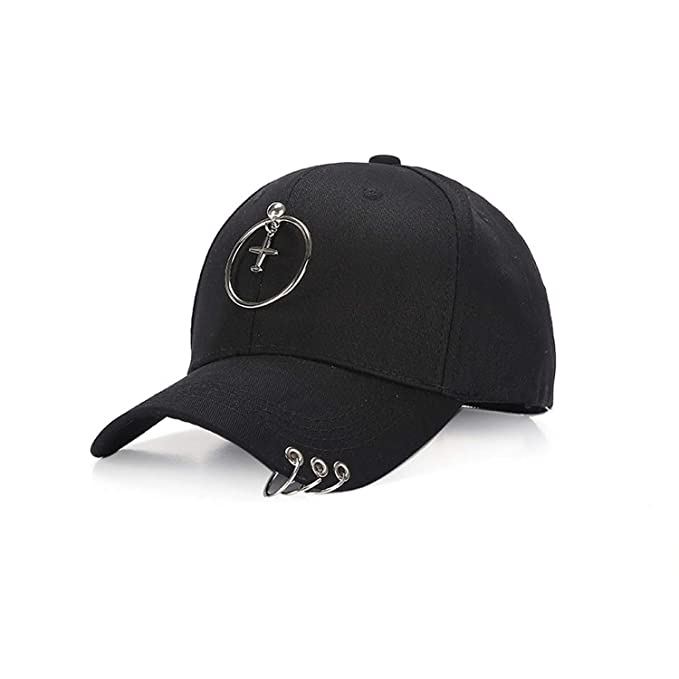 Badinka 2019 New Summer Simple Black Baseball Cap with Ring Dad Hats Cap  Style for Men Women Hop Fitted Caps at Amazon Women s Clothing store  5e14e7b9293