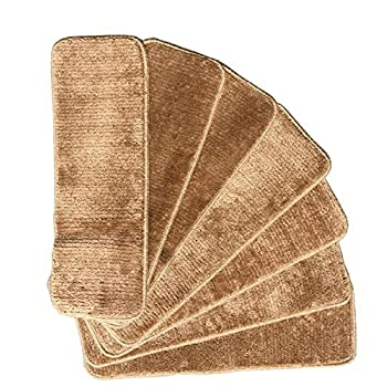 """Ottomanson Softy Stair Treads Solid Beige Camel Hair, Skid Resistant Rubber Backing Non Slip Carpet 9"""" L x 26"""" W, Stair Tread Mats, Set of 7"""