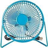 Elecbrain® USB Desk Fan (Powerful Airflow/ A Free Adapter) 4inch Personal Mini Fan - Small Table Fan with Pedestal/ Air Radiator for Laptop,for Desktop Tabletop Floor Office Room Travel (Blue)