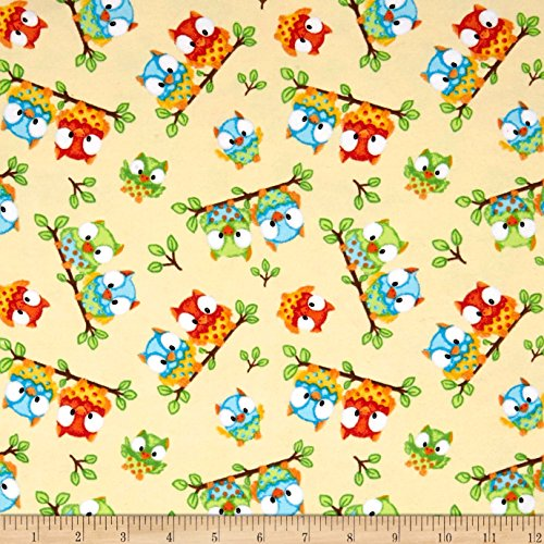 A.E. Nathan Comfy Flannel Prints Sitting Owls Beige Fabric By The Yard Nathan Comfy Flannel