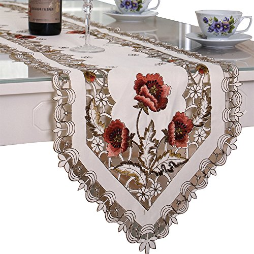 - BeautiLife Vintage European Flower Lace Table Runner Elegant Runners Cabinet Dining Room Table Decoration