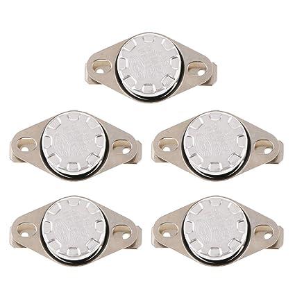 perfk 5 Piezas KSD301 NC Termostato Interruptor de Temperatura Controlada para HornoElectrónico Unidad de Calefacción -