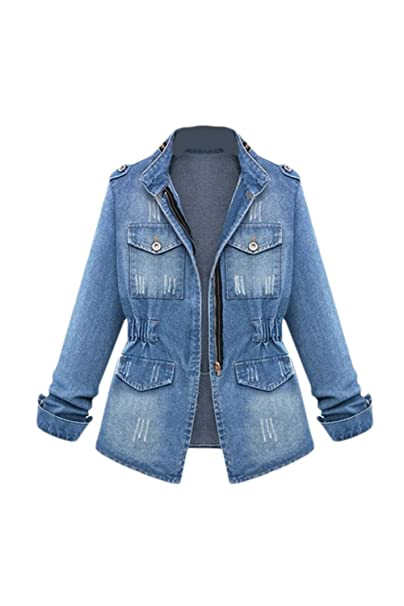 Long Casual Denim Washed Neck Stand Women Sleeve Jacket H2D9YEWI