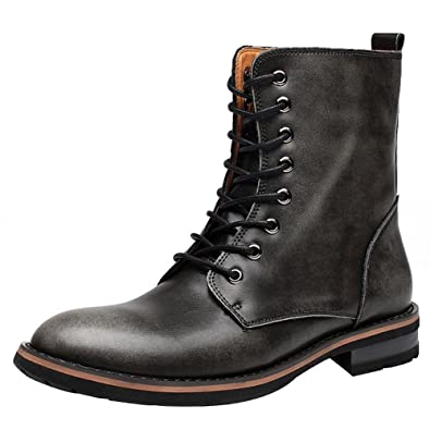 39c6a1f80af9 Jamron Mens Stylish Pointed-Toe Low Chunky Heel Lace Up Chukka Boots  Motorcycle Boots Warm