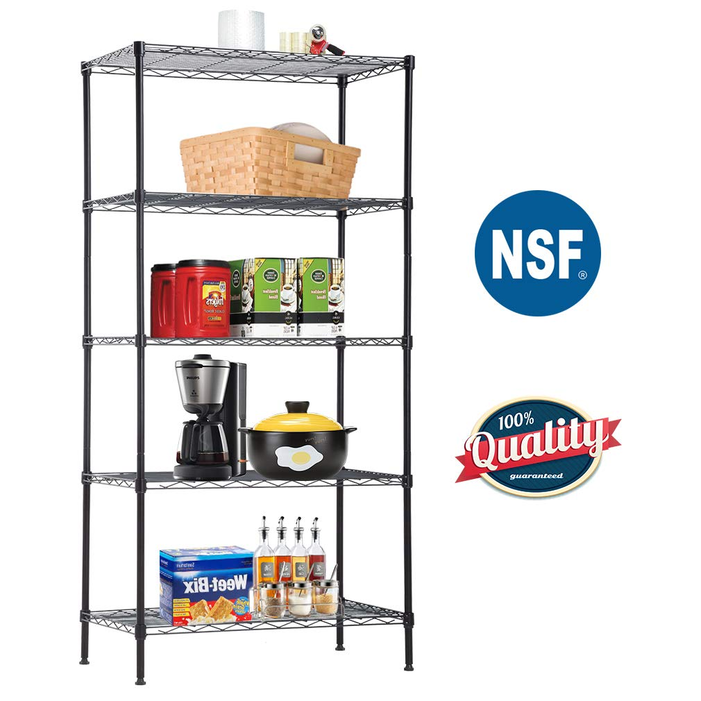 BestOffice  Steel NSF Large Organizer Garage Heavy Duty Commercial Grade Utility Metal Layer Storage Rack for for Kitchen Office 14D x 24W x 60H Inch,Black, 5-Tier,