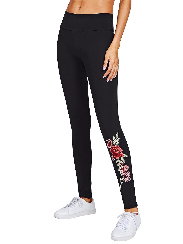 e5bf20bd4571ba SweatyRocks Women's Embroidered Flower High Waist Skinny Ankle Leggings  Pants at Amazon Women's Clothing store: