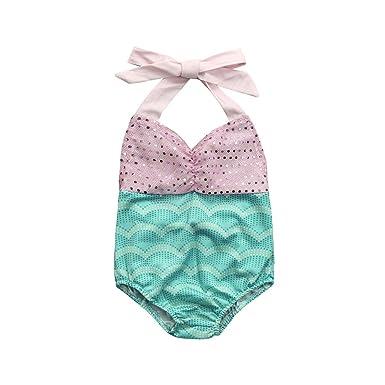 e326d4899b6 Amazon.com  KONFA Teen Baby Girls Mermaid Sequins Swimwear Rompers ...