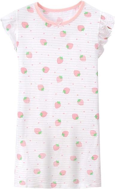 AOSKERA Camisones de piña de Las niñas Ropa de Dormir 100% Algodon Pijamas de Fresa por 3-10 años: Amazon.es: Ropa y accesorios
