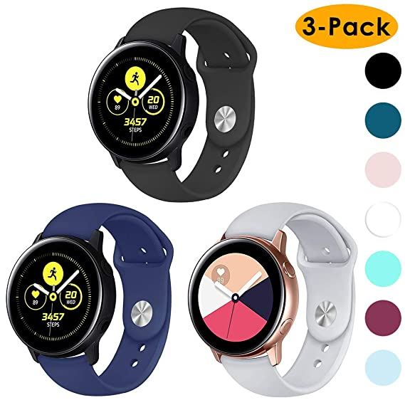 EZCO 3-Pack Compatible Samsung Galaxy Watch Active Bands/Galaxy Watch 42mm/Gear Sport Bands, 20mm Soft Waterproof Silicone Sport Watch Strap ...