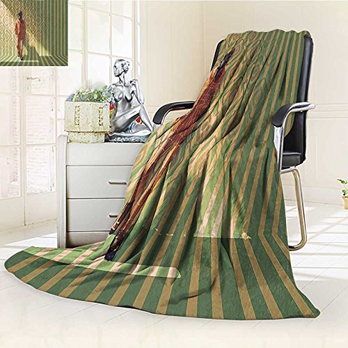 YOYI-HOME Fashion Designs Warm Duplex Printed Blanket Fashion Man with Gas Mask Fancy Suit Before Retro Wall Kitsch Art Orange Green Sofa,Air-Conditioner Room /W59 x H39.5