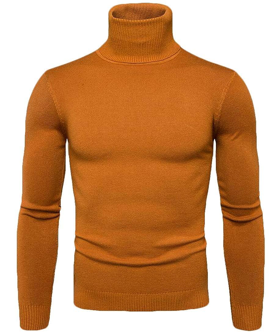 Gnao Mens Jumper Knitwear Turtleneck Long Sleeve Fashion Pullover Sweater