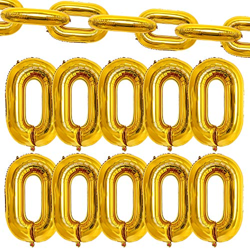 Aneco Foil Chain Balloons 40 Inch Giant Chain Balloon Links Gold Linking Chains Balloons for 80s 90s Hip Hop Theme Birthdays Weddings Graduations Retro Dance Link