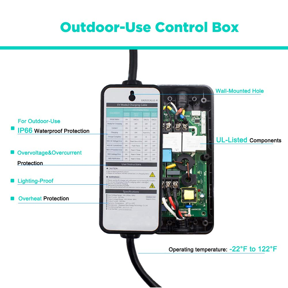 MAX GREEN Outdoor-Use EV Charger with Custom Skin, Level 2 Electric Vehicle Charging Station Included Five Adapters Compatible Level 1 by MAX GREEN (Image #6)